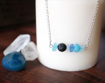 Aqua Aura Quartz and Lava Rock Essential Oil Diffuser Necklace or Bracelet