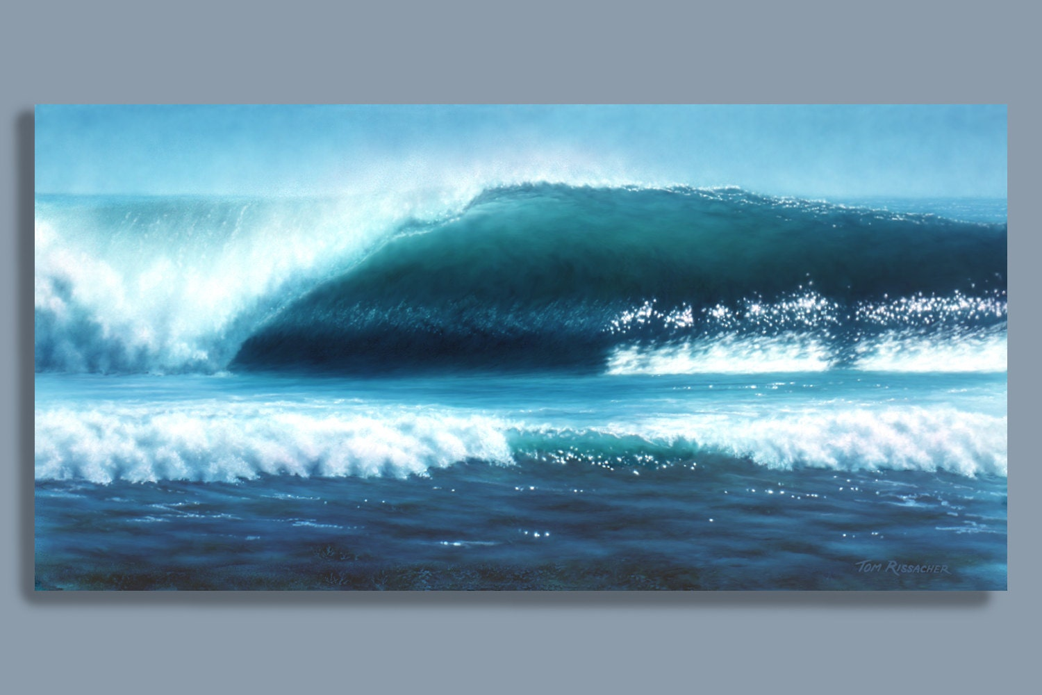 TROPICAL SUNSET WAVE Original Oil - 18&quot- X 24&quot- OIL PAINTING Oil ...