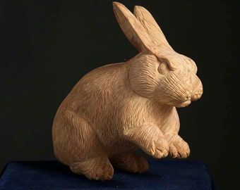 rabbit,wood sculpture,wooden statue,hand carved,hinoki,Japanese cypress
