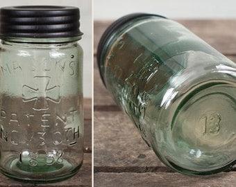 "Vintage Mason Jars - Reproduction - ""Number 13″ Pint Jar | Antique Mason Jar Reproduction | Limited Edition | Canning Jar | Mason Jar Decor"