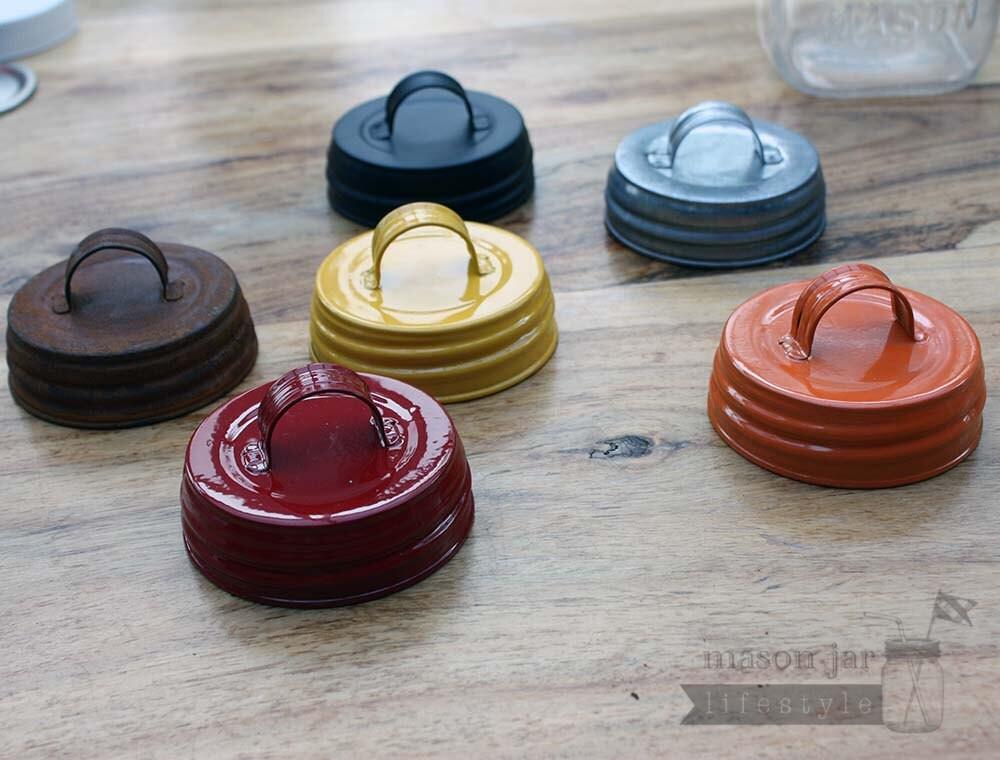 vintage reproduction mason jar lids with handles 6 colors. Black Bedroom Furniture Sets. Home Design Ideas