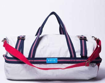 Tubo - Reuse Recycle Sails Bag white Weekend Urban Duffle Bag, Design Bag, Outdoors, Water resistant Made in USA, Unique, One of a Kind
