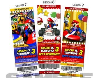 Mario kart birthday invitation