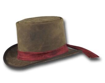VE Adventures Leather Top Hat 3041RU - Rustic