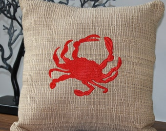 Embroidered Red Crab Pillow Tan Fabric Coastal Beach Seaside