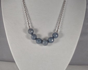 Faceted Aquamarine Beads with Antiqued Silver Chain