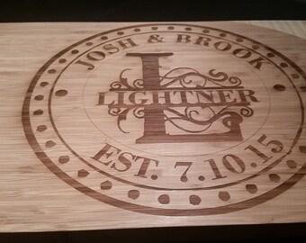 Monogrammed Wedding Gift Cutting Board