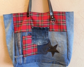 Jeans, faux black and Plaid tote bag