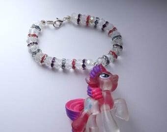 My Little Pony Rarity Themed Crystal Bracelet