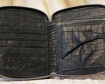 Leather Wallet, Black Gator DS105