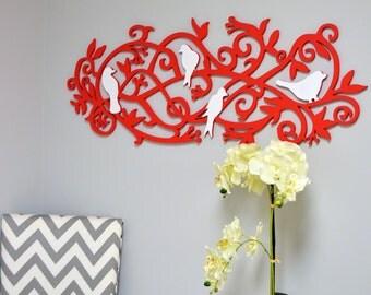 Wall hanging - wood sign - birds decor - bedroom wall art -  bathroom wall decor