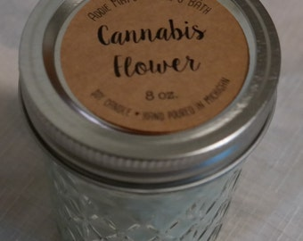 Cannabis Flower Scented Soy Wax Candle in 8 oz Jelly Jar