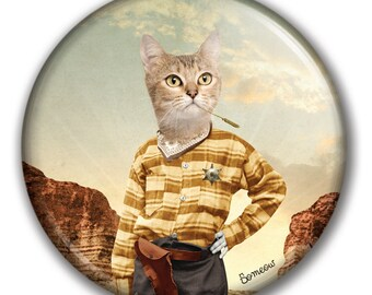 Fridge or locker cat magnet / perfect gift for all cat lovers / cat portrait / cowboy cat artwork called Catboy by So Meow