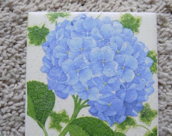 Hydrangea Ceramic Tile Coasters (set of 4)