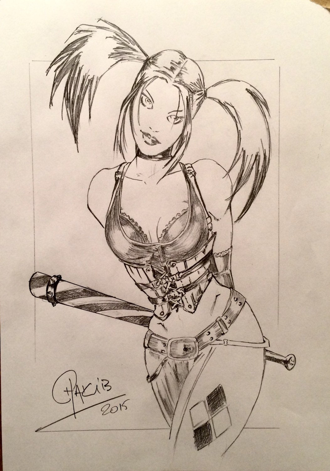 how to draw original harley quinn