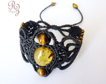 Bracelet black micro-macrame with amber