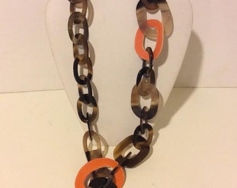 Long natural Buffalo horn and orange link necklace