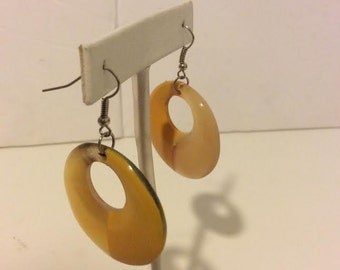 Yellow lacquered buffalo horn circle hoop earrings