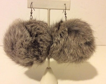 Gorgeous large grey rabbit fur earrings