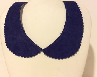 Soft blue suede peter pan tie back collar necklace