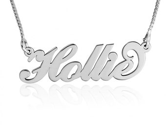 Carrie Necklace - White Gold Carrie Name Necklace Carrie Bradshaw Necklace Carrie Pendant Collier Prénom Carrie  Nameplate