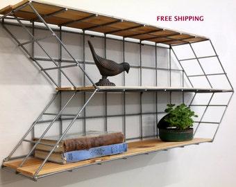 Arrow Shelf//Shelving//Shelves//Wood shelving//Geometric shelving//Industrial//Modern//Wire shelving//Industrial shelving//