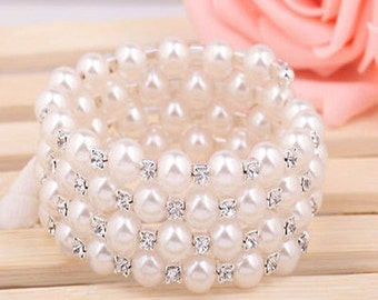 Fashion Pearl Crystal Cuff Bangle Bracelet Four Lap