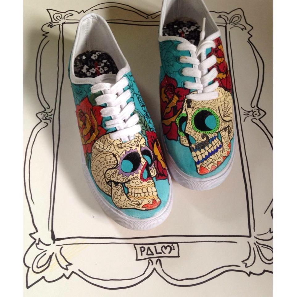 sugar skull shoes by ZeesShoesandDesign on Etsy