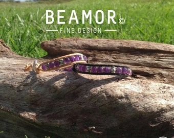 Amethyst single leather wrap