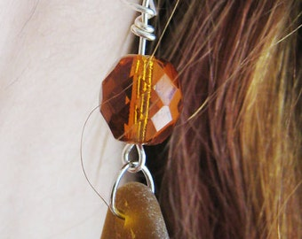 Amber Sea Glass Earrings/Dangly/Vintage Crystals/Sterling Silver Wire Wrapped/Genuine Maine Beach