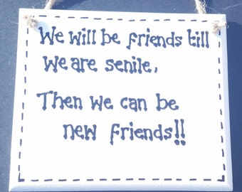 Humour Funny Old Age Sign - We will be friends till we are senile, then we will be new friends !