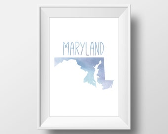 Maryland State Blue Watercolor Printable Art, Maryland State Print, Maryland Art, Modern Art,