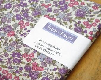 11 - FROU-FROU - coupon 45 x 55 light cotton - Collection Fleuri - purple Nina fabric