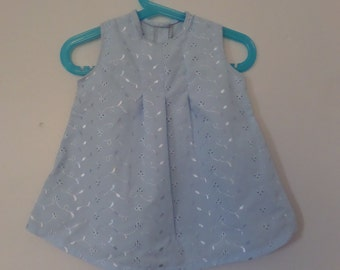 Baby Blue Broderie Anglaise Pleat Dress