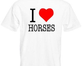 I Love Horses - Mens/Adults Tshirt - Novelty/Funny/Gift/Present/Party/Secret Santa/Fancy Dress