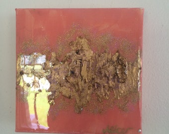 Coral gold leaf painting