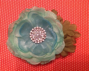 Mint colored flower hair clip