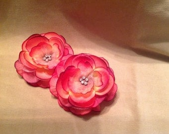 Coral rose fabric flower