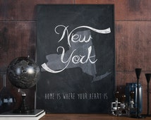New York wall art Chalkboard New York city print New York map New York art  USA art Map wall decor art print gray  State art