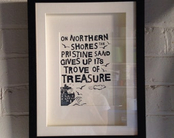 Limited Edition Letterpress Print of Whitby Poem in painted Wood Frame