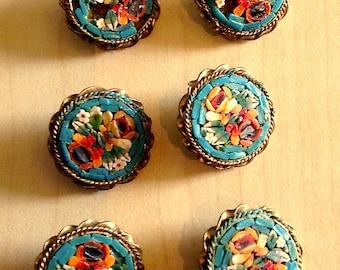 Set Six Antique Micro Mosaic Buttons