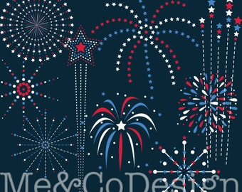 4th of July Fireworks Clipart, Red and Blue, Patriotic Instant Download, Personal and Commercial Use Clipart, Digital Clip Art