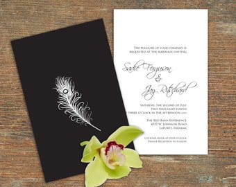 Wedding Invitation, Black Cover, White Peacock Feather, Customizable