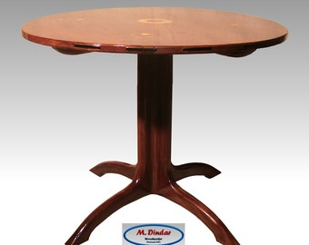 Arts & Crafts Walnut Breakfast Table (36 inch Round with Inlay)