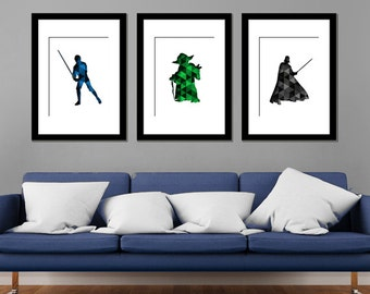 Star Wars Characters Modern Art Prints - Set of 3