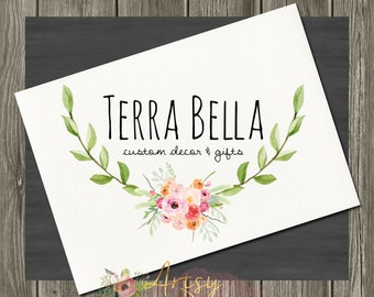 Terra Bella Laurel Logo Design, Premade Logo, Instant Download Logo, Watercolor Logo, Hairbow Bowtique Logo, PSD Logo Template,  Logo #13