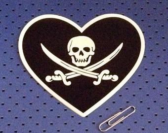 Pirate Love Bumper Sticker - Jolly Roger Heart