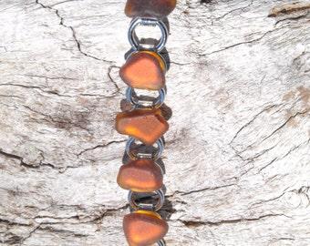 Amber Sea Glass Bracelet