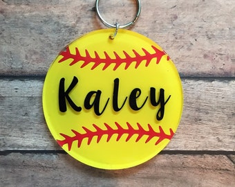 Custom softball keychain