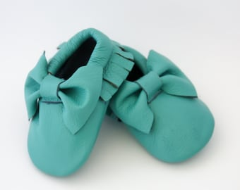 Baby Bow Leather Moccasins